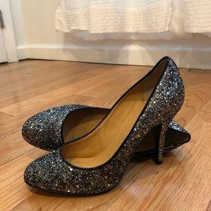 Jcrew sz7.5 dark gray pewter glitter heels